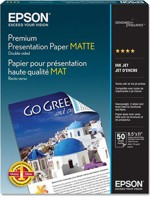 "S041257-F Epson Matte Paper Heavyweight, 8.5"" x 11"", 50 sheets"