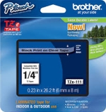 TZE111 Brother 6mm Black on Clear Tape for P-Touch