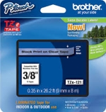 TZE121 Brother 9mm Black on Clear Tape for P-Touch