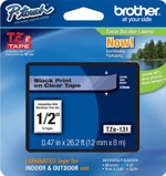 TZE131 Brother 12mm Black on Clear Tape for P-Touch
