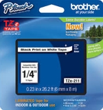 TZE211 Brother 6mm Black on White Tape for P-Touch
