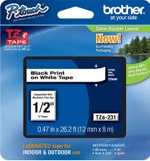 TZE231 Brother 12mm Black on White Tape for P-Touch