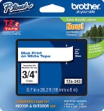 TZE243 Brother 18mm Blue on White Tape for P-Touch