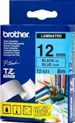 TZE531 Brother 12mm Black on Blue Tape for P-Touch
